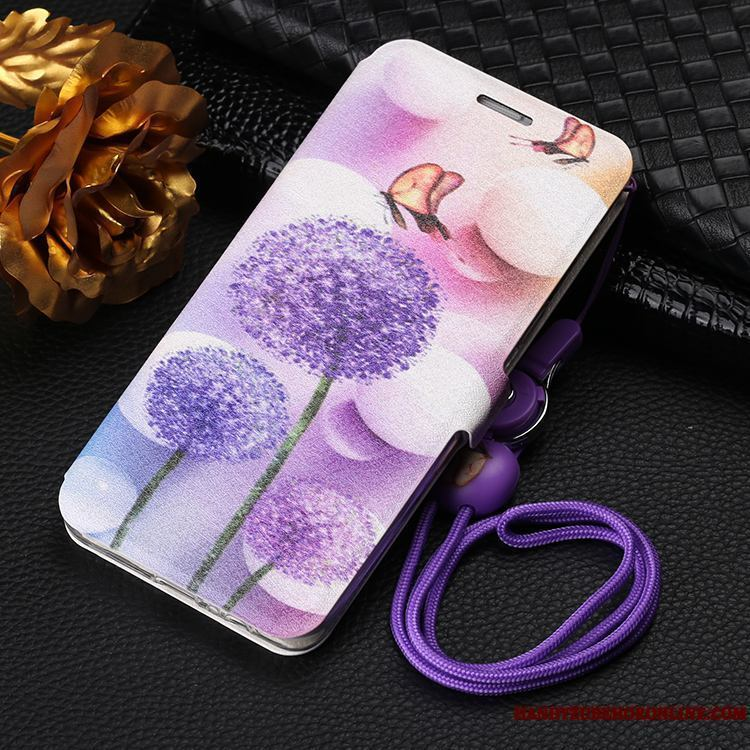 Samsung Galaxy A7 2018 Púrpura Anti-caída Funda Silicona Suave De Cuero Estrellas Folio