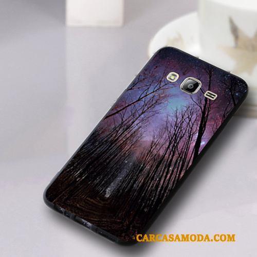 Samsung Galaxy J3 2016 Suave Funda Anti-caída Teléfono Móvil Carcasa Púrpura Todo Incluido