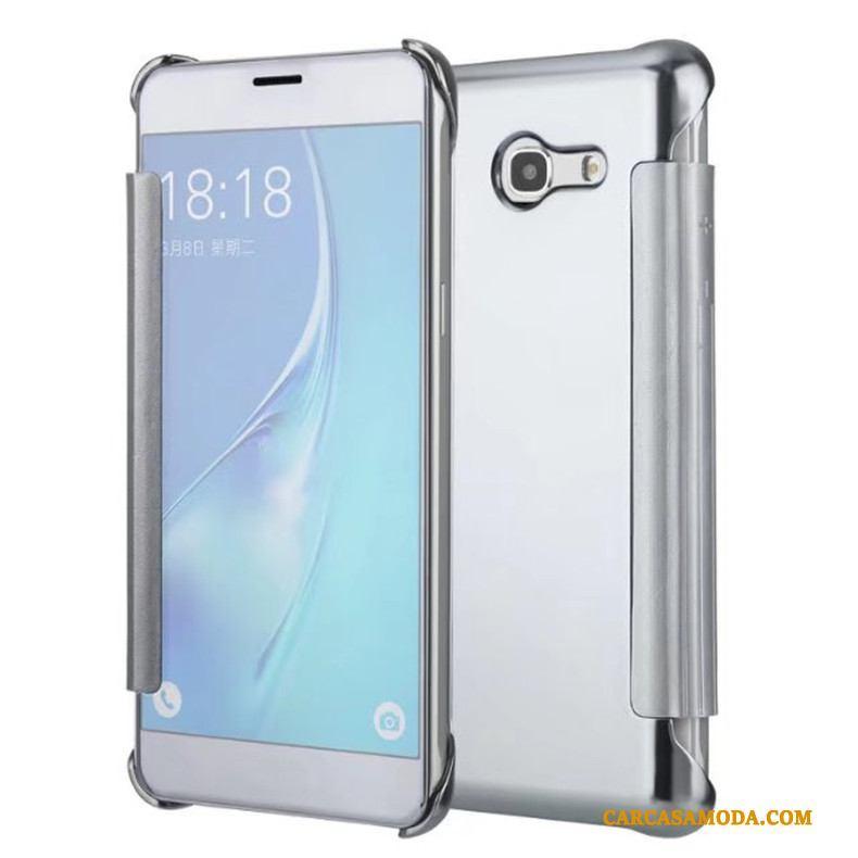 1ceb8c1ddea Samsung Galaxy J7 2017 Funda Protección Espejo Silver Estrellas Teléfono  Móvil Carcasa Folio ...