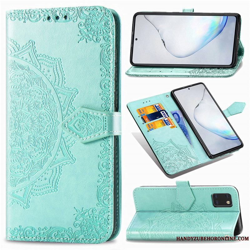 Samsung Galaxy Note 10 Lite Funda Silicona Color Sólido Relieve De Cuero Carcasa Con Relieve Folio