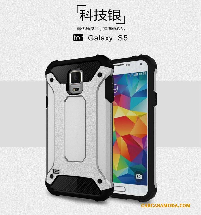 8066f8beb45 Samsung Galaxy S5 Silicona Funda Silicona Anti-caída Metal Carcasa Globo  Silver Descuento