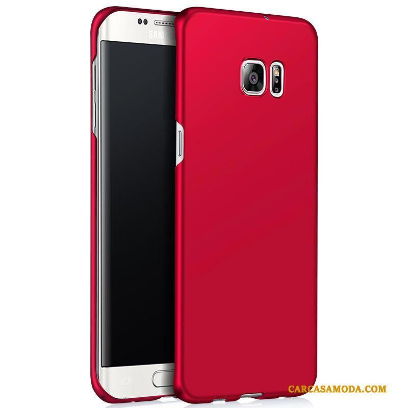 Samsung Galaxy S6 Edge Funda Silicona Protección Duro Simple Rojo Estrellas Anti-caída