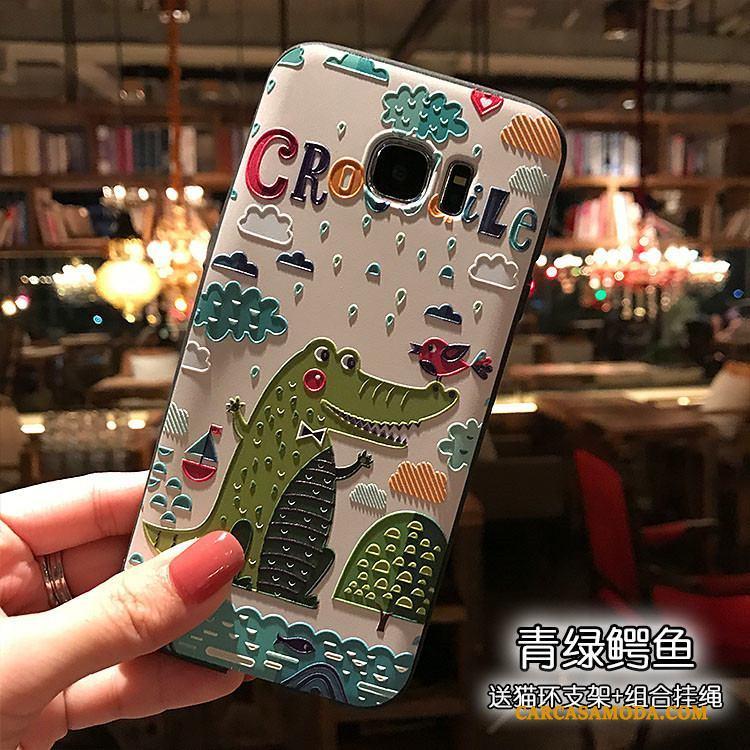 Samsung Galaxy S7 Edge Funda Estrellas Negro Relieve Verde Suave Carcasa Personalizada