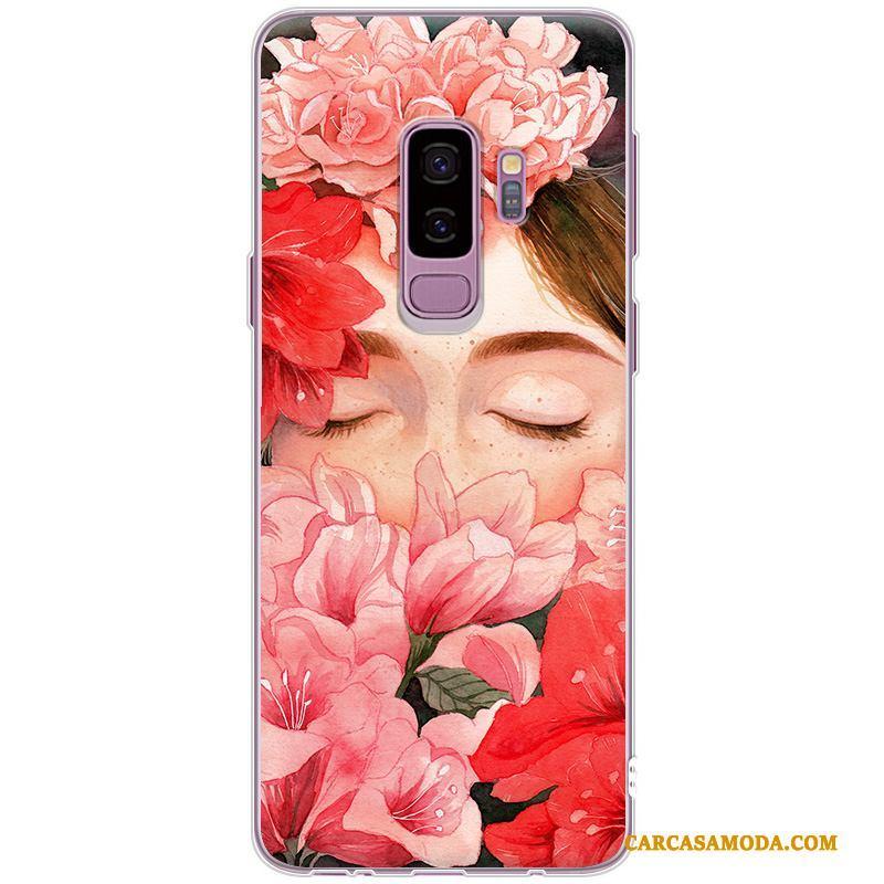 Samsung Galaxy S9+ Elegante Simple Silicona Suave Funda Silicona Todo Incluido Estrellas