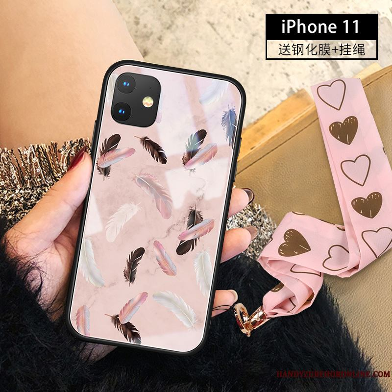 iPhone 11 Funda Net Red Vidrio Adornos Colgantes Gama Alta Rosa Slim Tendencia
