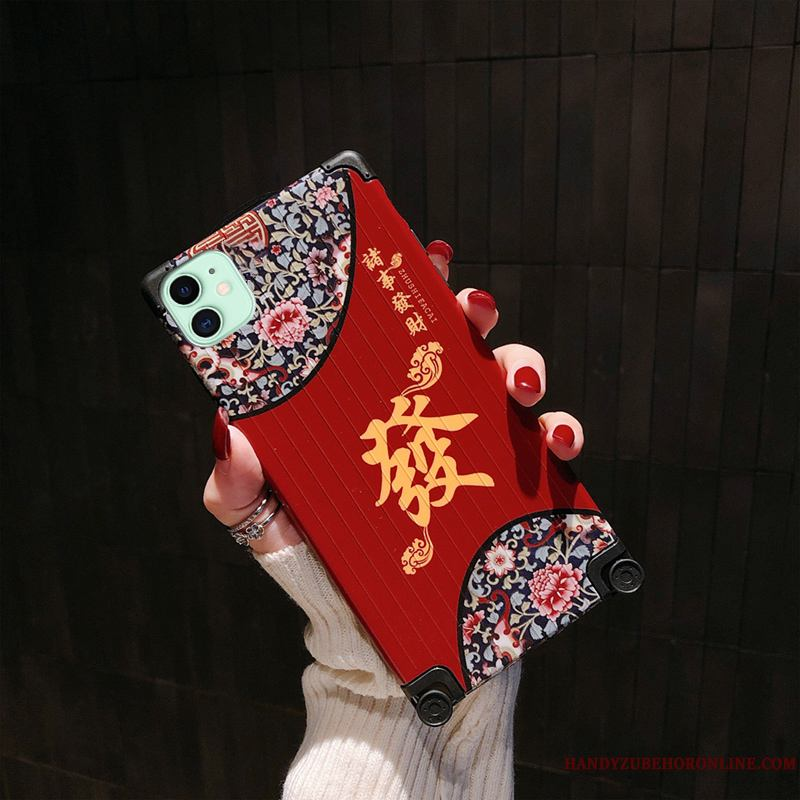 iPhone 11 Funda Silicona Todo Incluido Creativo Retro Anti-caída Net Red Carcasa