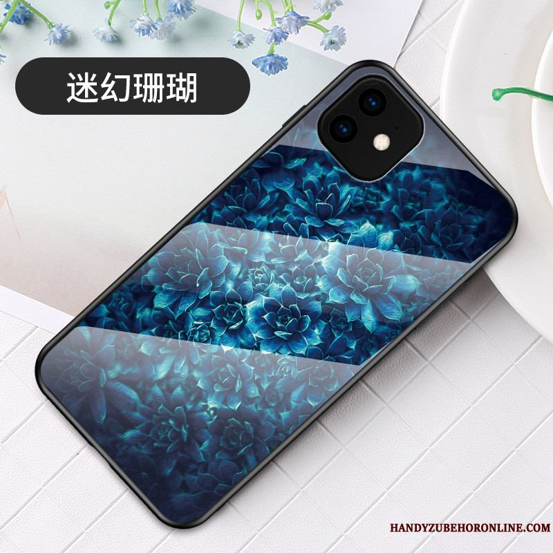 iPhone 11 Simple Suave Arte Azul Funda Silicona Sakura Vidrio