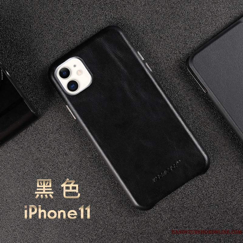iPhone 11 Slim Business Protección Negro Ganado Funda De Cuero Cuero Genuino
