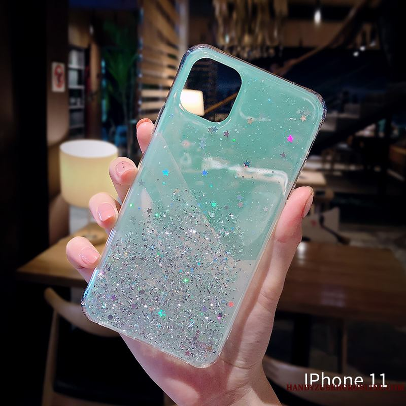 iPhone 11 Transparente Anti-caída Brillante Net Red Polvo Verde Funda Silicona