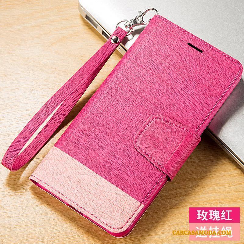 iPhone 4/4s Folio Adornos Colgantes Funda Silicona De Cuero Rose Rojo Anti-caída