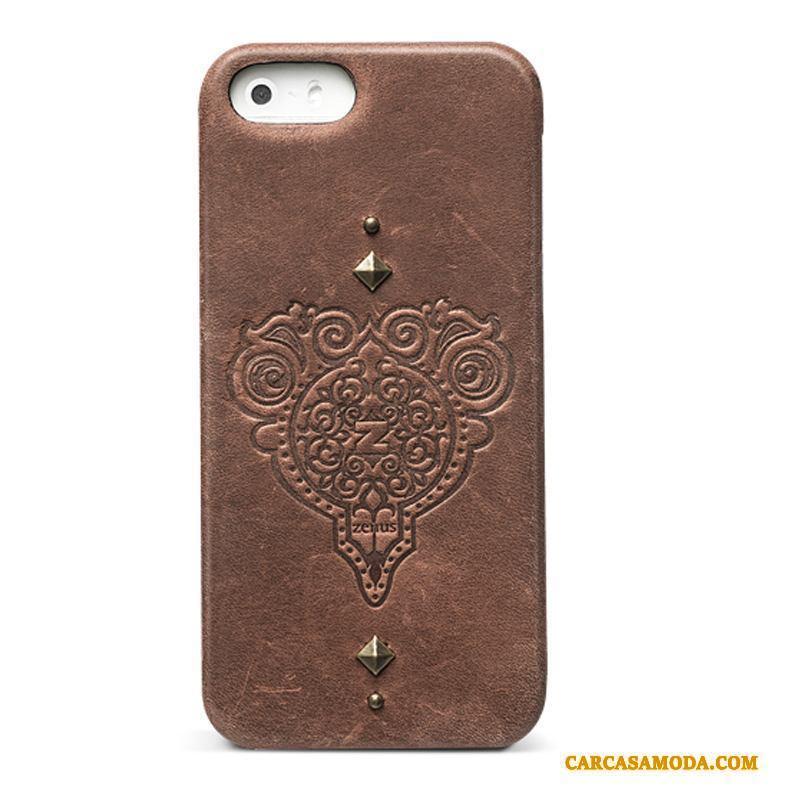 iPhone 5/5s Carcasa Teléfono Móvil Funda Silicona Cuero Genuino Retro Protección