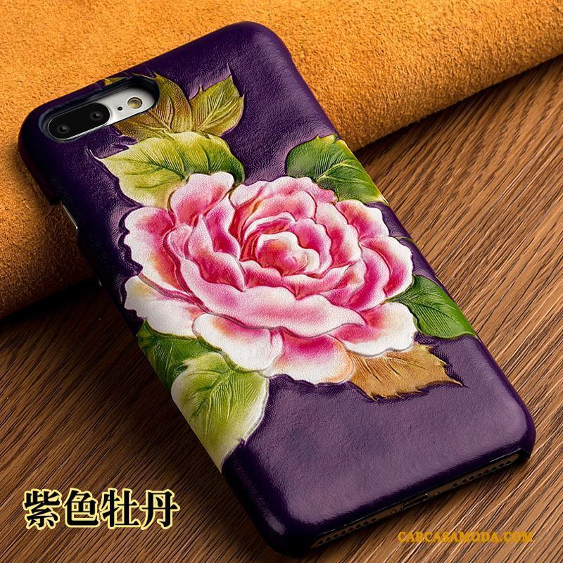 iPhone 5/5s Funda De Cuero Cubierta Trasera Personalizado Púrpura Anti-caída Cuero Genuino Silicona