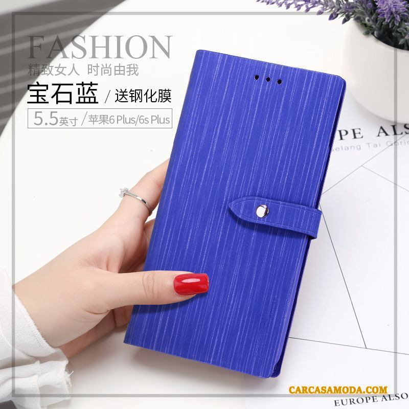 iPhone 6/6s Plus Anti-caída Folio Billeteros Silicona Azul Funda De Cuero Tendencia