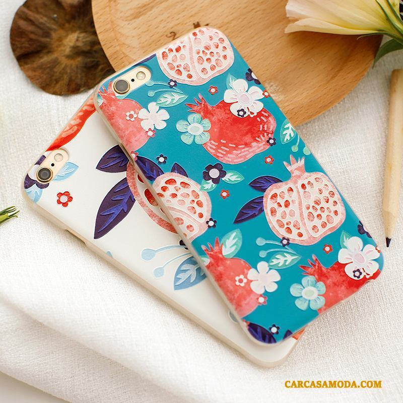 iPhone 6/6s Plus Flores Suave Marca Tendencia Funda Azul Silicona Relieve