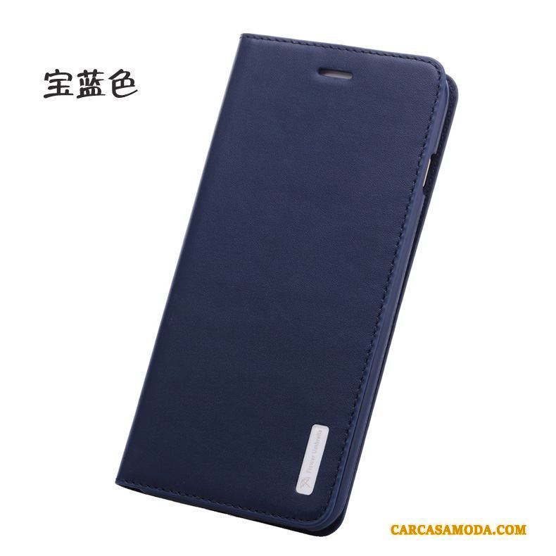 iPhone 6/6s Plus Funda De Cuero Folio Cuero Genuino Business Azul Protección Silicona