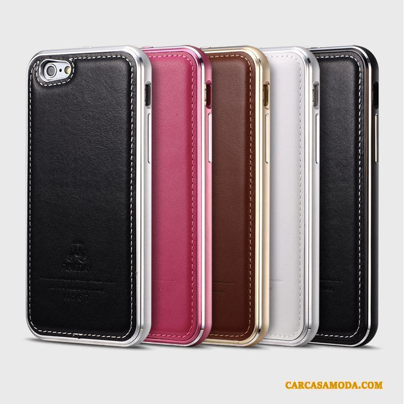 iPhone 6/6s Plus Negro Carcasa Business Protección Funda Metal Cuero Genuino