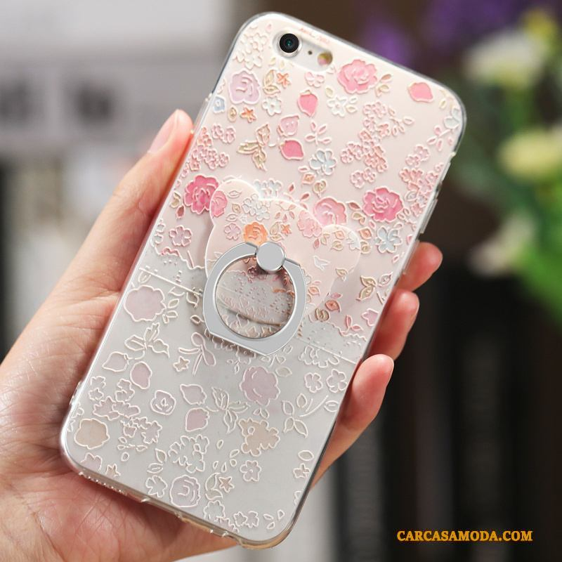 iPhone 6/6s Plus Protección Floral Relieve Funda Carcasa Suave Net Red