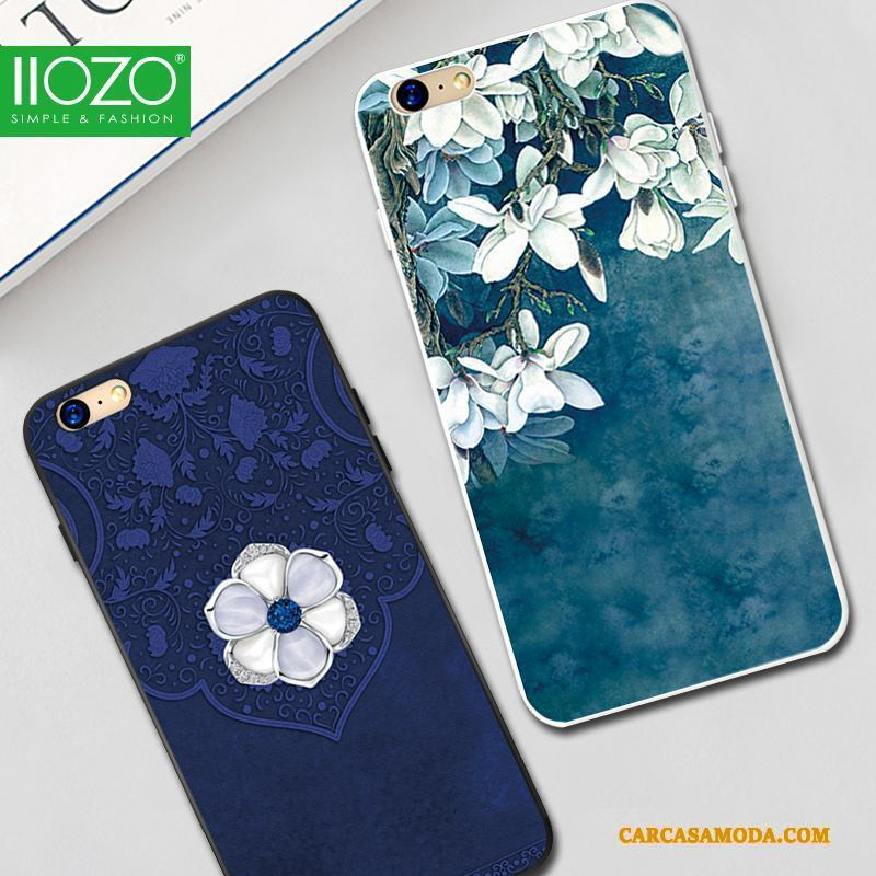iPhone 6/6s Suave Protección Carcasa Funda Silicona Tendencia Relieve Azul