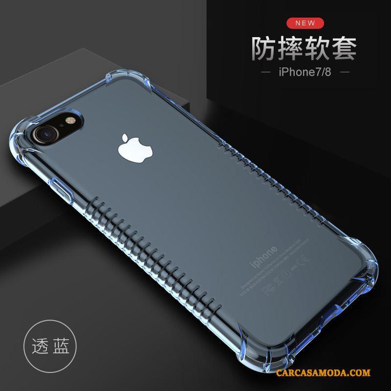 iPhone 7 Carcasa Funda Todo Incluido Transparente Silicona Azul Anti-caída