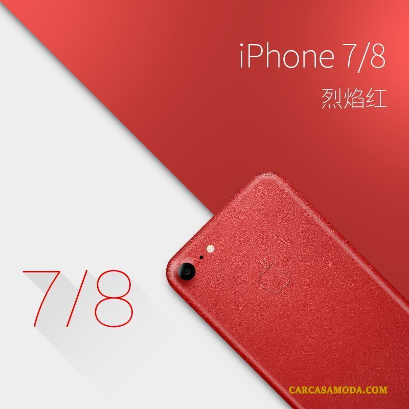 iPhone 7 Creativo Rojo Slim Carcasa Lujo Cuero Genuino Funda Silicona