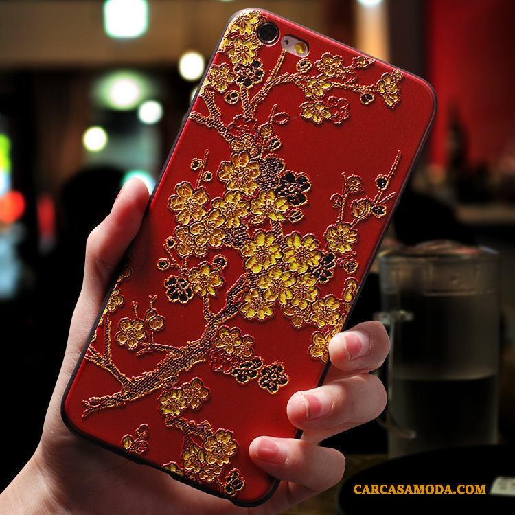 iPhone 7 Plus Funda Silicona Estilo Chino Creativo Carcasa Rojo Anti-caída Personalidad