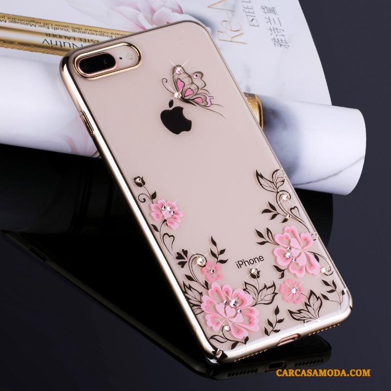 iPhone 7 Plus Oro Rhinestone Anti-caída Todo Incluido Lujo Funda Silicona Transparente