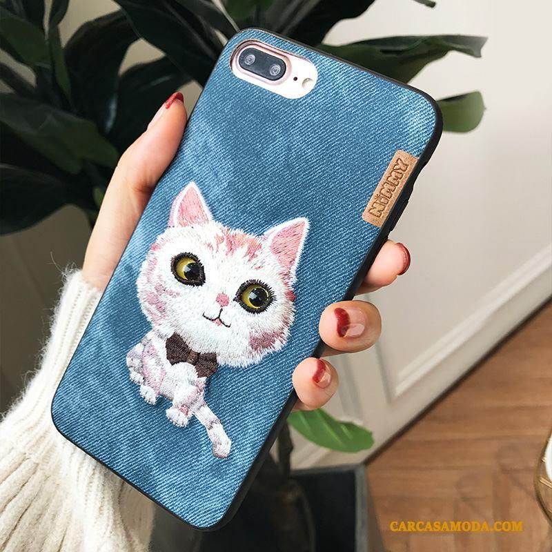 iPhone 7 Plus Pareja Funda Silicona Bordados Anti-caída Nuevo Azul Marca Tendencia
