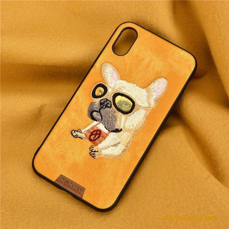 iPhone 7 Todo Incluido Perro Mezclilla Amarillo Funda Silicona Bordados