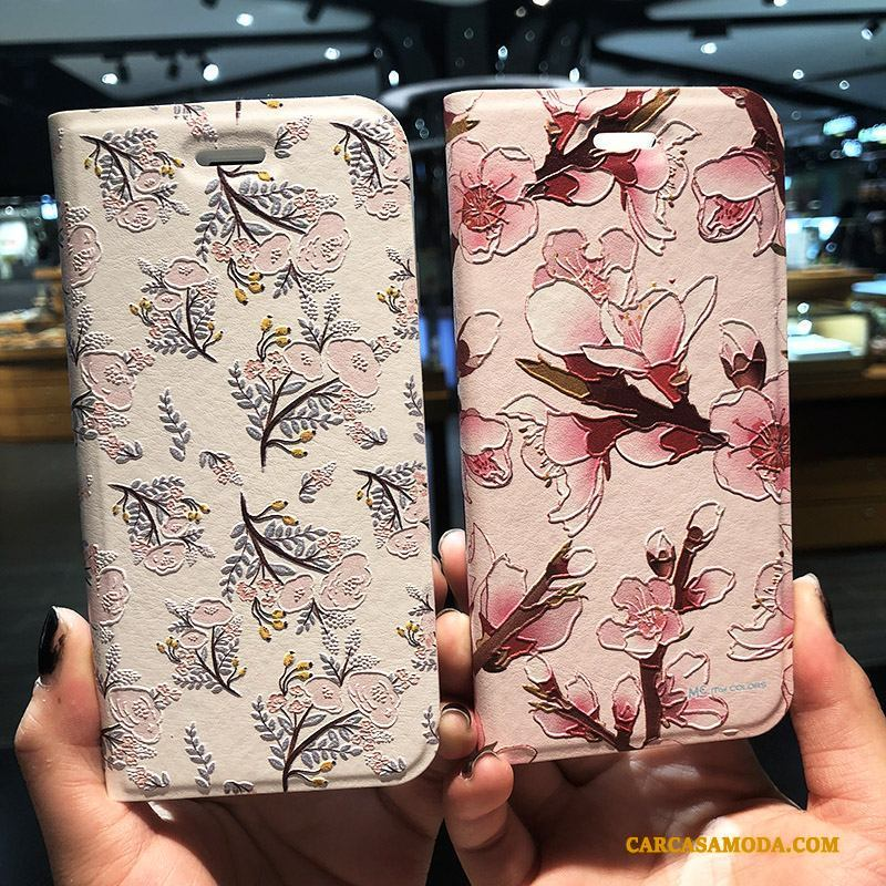iPhone 8 Plus Floral Protección Rosa Folio Creativo Funda De Cuero Relieve