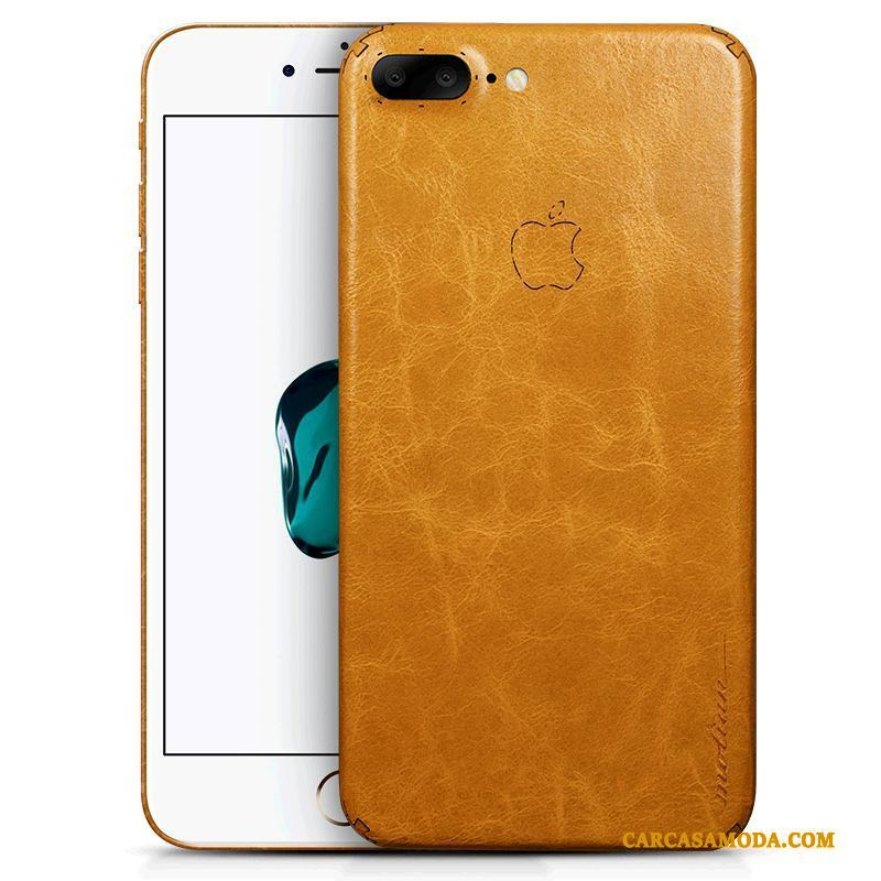 iPhone 8 Plus Funda Silicona Carcasa Slim Creativo Lujo Cuero Genuino Amarillo