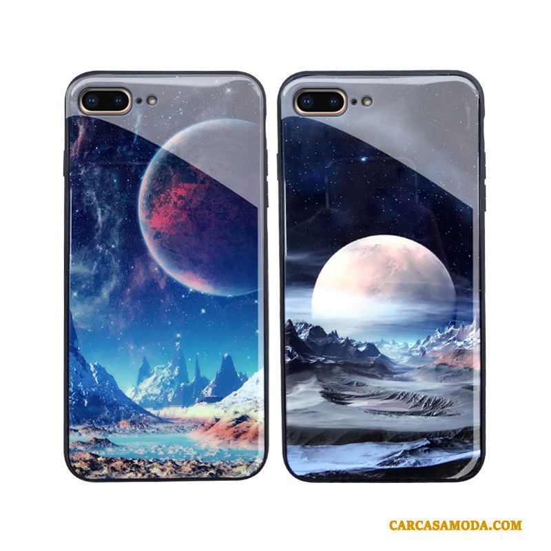 iPhone 8 Plus Funda Suave Vidrio Personalidad Creativo Silicona Tendencia Azul