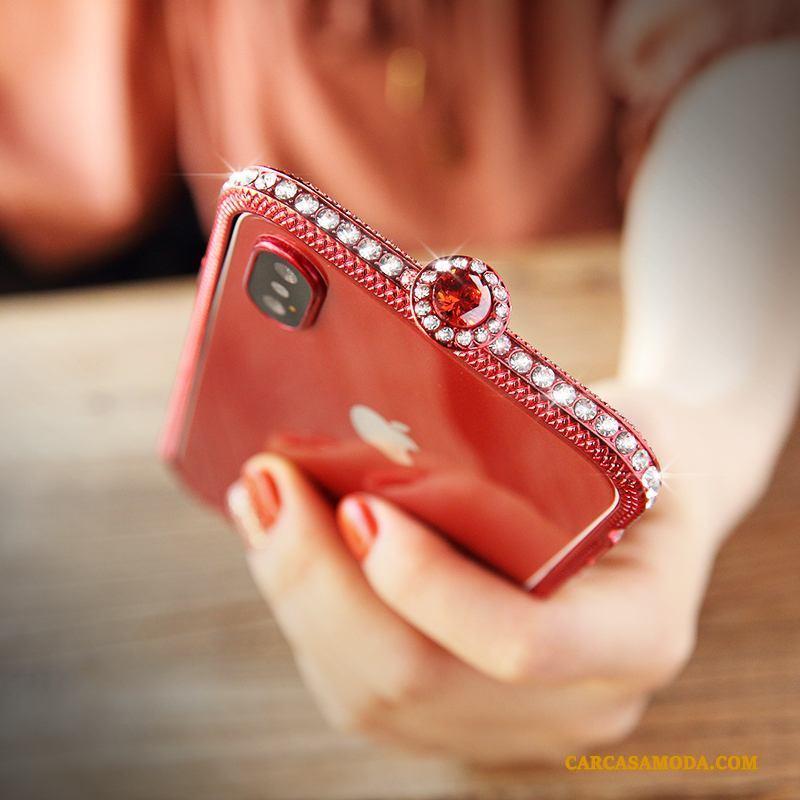 iPhone X Borde Rojo Carcasa Funda Silicona Rhinestone Tendencia Nuevo
