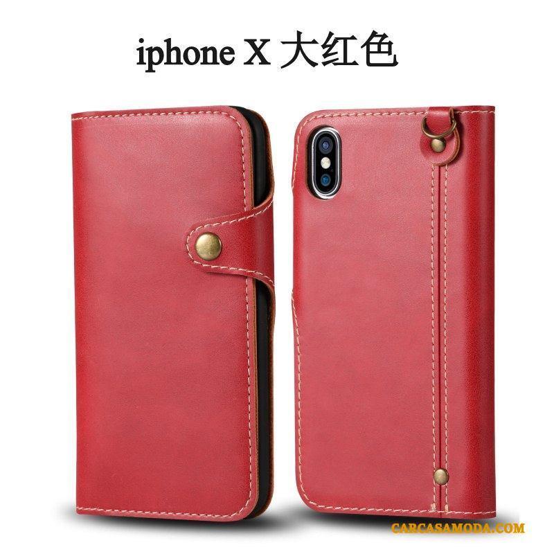 iPhone X Carcasa Adornos Colgantes Protección Tendencia Rojo Funda Silicona Clamshell