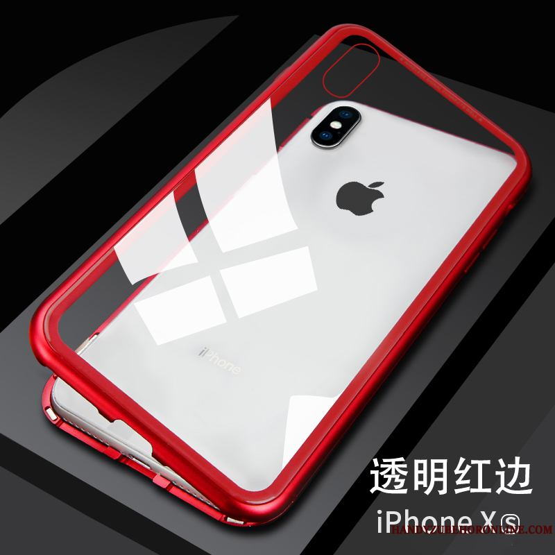 iPhone Xs Vidrio Carcasa Metal Rojo Funda Silicona Net Red Transparente